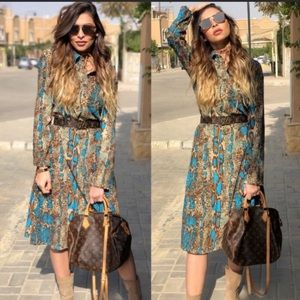 Zara snake print midi shirt dress